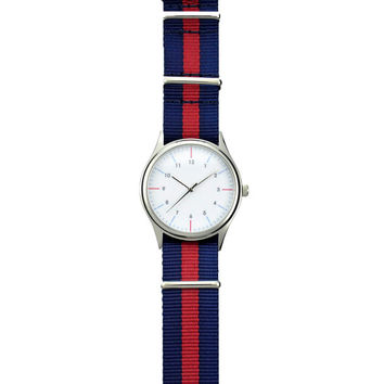Minimalist Watch Dual Color Stripes two tone Nylon Band - Unisex - Free shipping