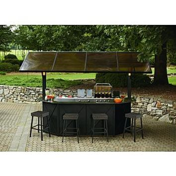 Ty Pennington Style Sunset Beach Deluxe Lighted & music Hardtop Bar with 4 stools