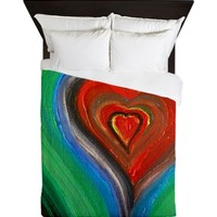 Rainbow Heart Love Queen Duvet