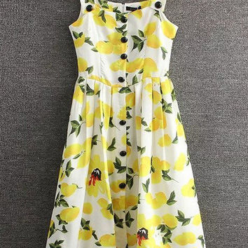 Yellow Lemon Printed Button Skater Dress