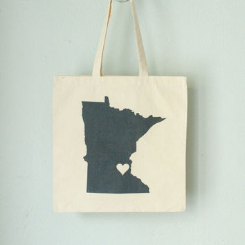 MINNESOTA LOVE TOTE gray state silhouette on natural bag