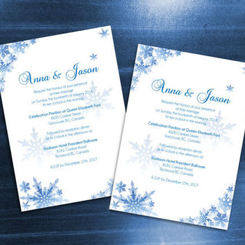 DIY Printable Wedding Invitation Card Template | Editable MS Word file | 5 x 7 | Instant Download | Winter Blue Snowflakes