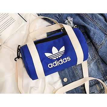 ADIDAS hot seller women's casual shopping bag fashion canvas printed single shoulder duffel bag Blue
