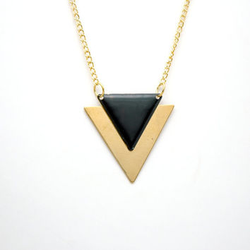 Minimalist Geometric Triangle Long Necklace - Black Hand Dyed Modern Raw Brass Jewelry  - Gold Plated Chain