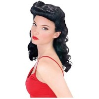 Burlesque Beauty Costume Wig Adult Womens Retro 40s 50s Pin-Up Girl Halloween