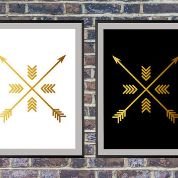 2 for the price of 1 Gold Arrow Art, Arrow Print, Wall Prints, Gold Arrows Art, Arrow Prints, Black and White Wall Print *143*