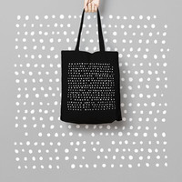 Geometric Black Tote Bag Dots - Canvas Tote Bag - Printed Tote Bag - Market Bag - Cotton Tote Bag - Large Canvas Tote - Funny Tote Bag Dots