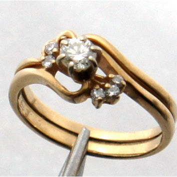 Vintage Estate 14kt Gold .3ct Diamond Solitaire Engagement Ring & Band