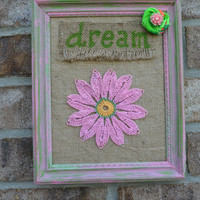 Nursery decor Baby girl DREAM pink flower girls bedroom upcycled green and pink frame 8x10 frame