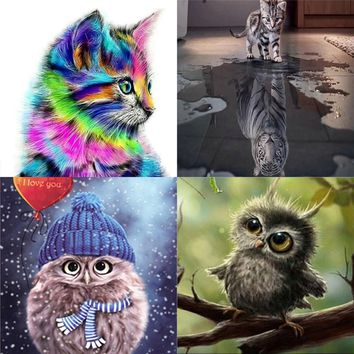 5D Square Diamond Mosaic Cross Stitch Kit Diy Diamond Painting Animals Cat Owl Tiger