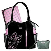Disney Minnie Fashion Tote Diaper Bag - Black/fuschia/grey