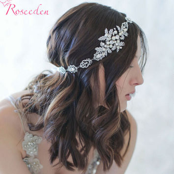 BRIDAL WEDDING HAIR BAND silver plated floral simulated pearl Ribbon tiara Headband Women Party Pageant Crowns hairpiece RE199