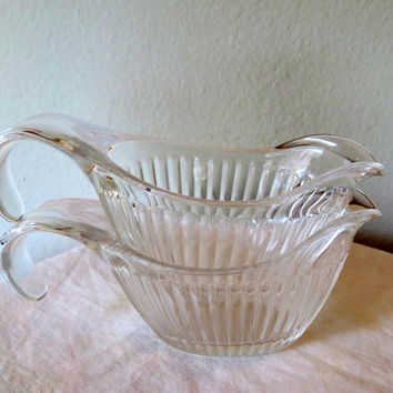 Vintage Clear Ribbed Glass Sauce Pitchers- Creamer- Gravy Boat- Set of Two- 20% Off PRE-CHRISTMAS Store Wide Sale
