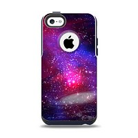 The Vivid Pink Galaxy Lights Apple iPhone 5c Otterbox Commuter Case Skin Set