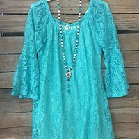 Lace The Facts Dress in Turquoise