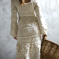 Off-white hand knit dress wedding dress - custom order