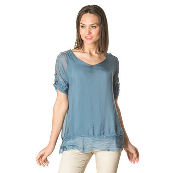 Embroidered Sleeve Silk Top