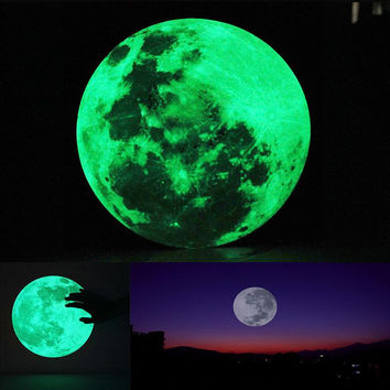 30cm Large Moon Glow in the Dark Luminous Wall Sticker Home Decoration Decor