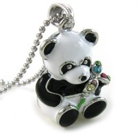 White Black Panda Bear Pendant Necklace Rhinestone Charm Animal Fashion Jewelry