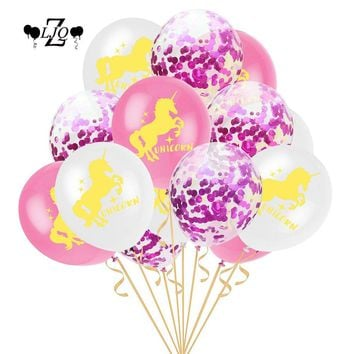 ZLJQ 15pcs Mermaids Unicorn Balloon Girl Boy Happy Wedding Birthday Party 12inch Latex Confetti Ballons Baby Shower Decoration