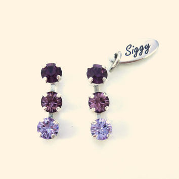 Swarovski crystal triple-stone post earrings, purple tones, 5mm dainty studs, GREAT PRICE