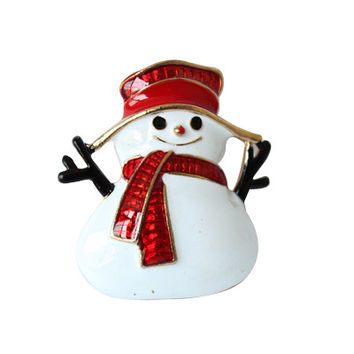 Gold Plated Christmas Snowman Costume Brooch Cheap Red Rhinestone Christmas Brooches Lot Collar Clip For Scarf Buckle