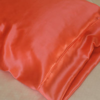 SALE Silk Pillowcase, Hot Coral, Standard or King Size , Charmeuse Silk, Hypoallergenic Bed Linen for Sensitive Skin and Hair Care