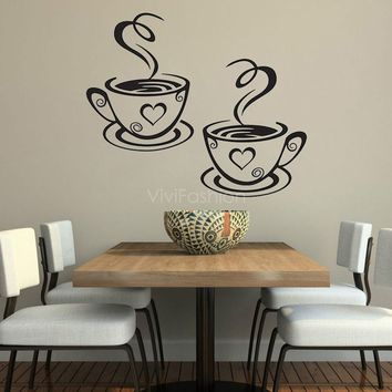Coffee Cups Kitchen Wall Stickers Cafe Vinyl Art Decals Pub Cafe Home Decals Black