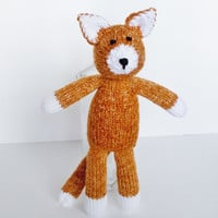 Hand Knit Orange Marmalade Cat, Handmade Stuffed Animal Toy, Ready To Ship, Knit Toy, Plush Cat Doll, Toddler Gift, Baby Shower Gift 13 1/2""