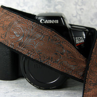 Western Camera Strap, dSLR, Faux Leather, Men or Women, Quick Release, Canon Camera Strap, Nikon, Camera Neck Strap, Pocket, SLR, 197 w