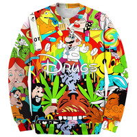 Harajuku new 2015 fall men/women's fashion pullover sweatshirts 3D cartoon print Super Mario weed drugs casual tops hoodies