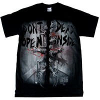 Walking Dead Zombie Don't Open Dead Inside Men's Black T-shirt