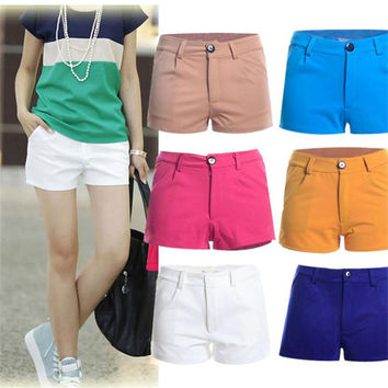 Summer Shorts Slim Fit Candy Color Design Casual Pantalones Elasticity Short Trousers Solid Pocket Sport Women Clothing