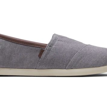 TOMS - Men's Classics Ortholite Frost Grey Chambray Slip-Ons