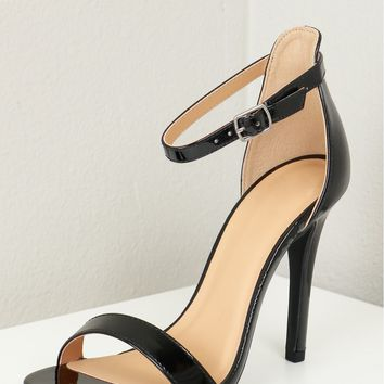 Single Strap Patent Heels Black Patent