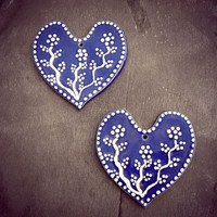 Blue Heart Ceramic Set of 2 Ornaments Eco Friendly Pottery Wedding Favor Mothers Day Gift