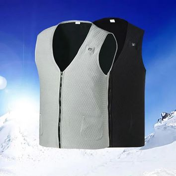 Men's Winter Warm Cycling Jacket Wear-resistant Anti-UV Heated Sleevless Vest Carbon Fiber Heating Infrared Technology Warm vest