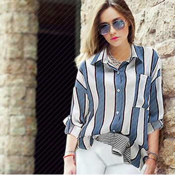 2017 Vintage Striped Blouse Women Casual Loose Shirt With Poket Long Sleeve Pink Blue Batwing Sleeve Street Style Blusa