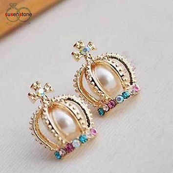 SUSENSTONE Fashion Lady Crown Pearl Rhinestone Cross Lovely Retro Stud Earrings
