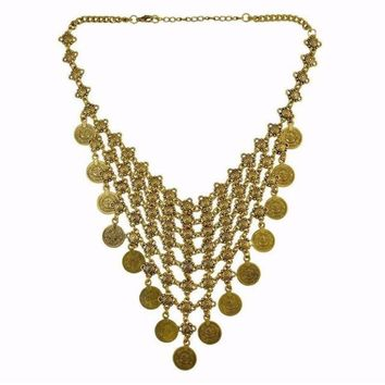 Antique Gold Tone Bohemian Gypsy Multi Chain Layer Coin Statement Necklace