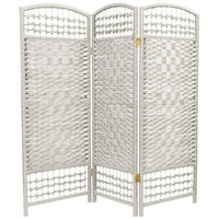 Oriental Furniture FB-4DMND-WHT-3P Four Ft. Tall Fiber Weave Room Divider, Width - 48 Inches