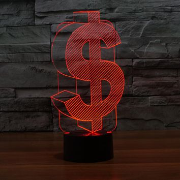 3D LED Dollar Sign Lamp With 7 Changable Colors