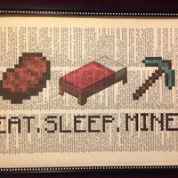 Vintage 8 3/8 x 10 3/4 Minecraft Eat Sleep Mine Dictionary Art