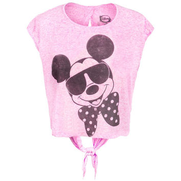 Mickey Mouse - Shades and Bowtie Juniors Open Tie-Back Half T-Shirt