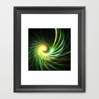 Golden green spiral star Framed Art Print by cycreation