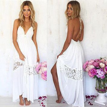 Sexy Women Maxi Long Lace Cocktail party Summer Beach Backless Ball Gown Dress