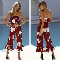 Women Casual Fashion Flower Print Frills Strapless Sleeveless Romper Jumpsuit Trousers