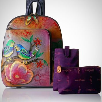 Hand Painted Genuine Leather Sling Over Travel Backpack