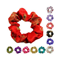 Chinese Dragon Brocade Premium Satin Scrunchies 2 Sizes (Free Shipping Worldwide) Ponytail Holder Hair Accessories Made in USA