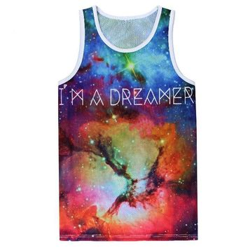 I Am A Dreamer Celestial Space Stars Galaxy Cosmic Dust All Over Print Tank Top